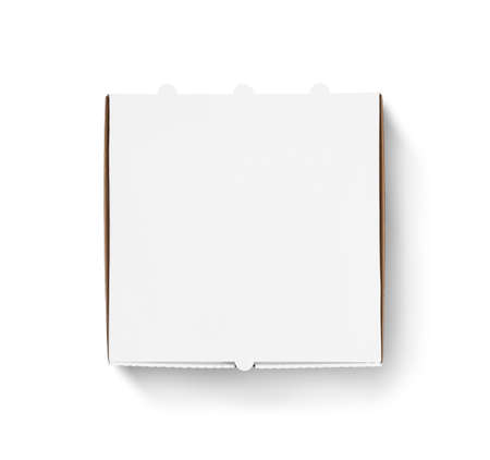 Blank pizza box design mock up top view isolated.
