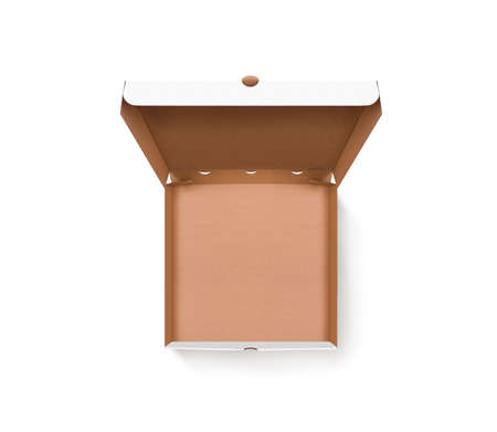 Blank opened pizza box design mock up top view isolated. 版權商用圖片