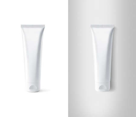 Blank white tube design mockup set, isolated, clipping path.