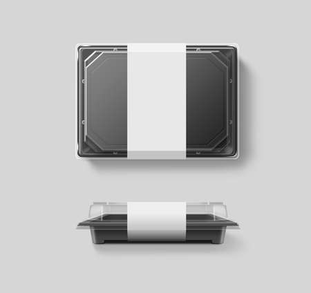 Lege plastic disposable voedsel container mockup, transparant deksel, geïsoleerd Stockfoto