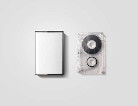Blank cassette tape box design mockup, isolated Фото со стока