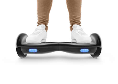 two wheel: Gyro scoter drive. Two wheel transport device. Electriic hyroscooter driving. Person self balancing hoverboard. Driving giroscooter. Hyroscooter.