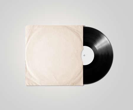 빈 비닐 앨범 커버 슬리브 mockup, 절연. 축음기 음악 접시 명확한 표면 조롱. 종이 사운드 쉘락 디스크 레이블 템플릿입니다. 빈티지 오래 된 그런 지 골  스톡 콘텐츠