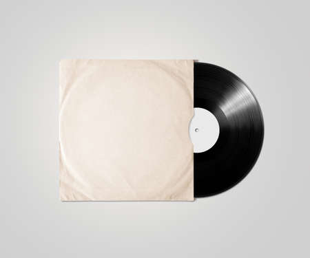 Blank vinyl album cover sleeve mockup, isolated. Gramophone music plate clear surface mock up. Paper sound shellac disc label template. Vintage old grunge cardboard vinyl disk package
