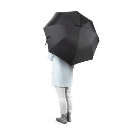 umbel: Women stand backwards with black blank umbrella opened mock up isolated. Female person hold grey clear umbel overhead. Plain surface gamp mockup. Man holding protective accesory gingham cover handle.