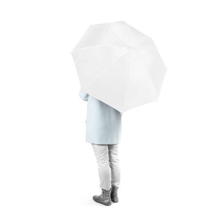 umbel: Women stand backwards with white blank umbrella opened mock up isolated. Female person hold clear umbel overhead. Plain surface gamp mockup. Man holding protective accesory gingham cover handle.