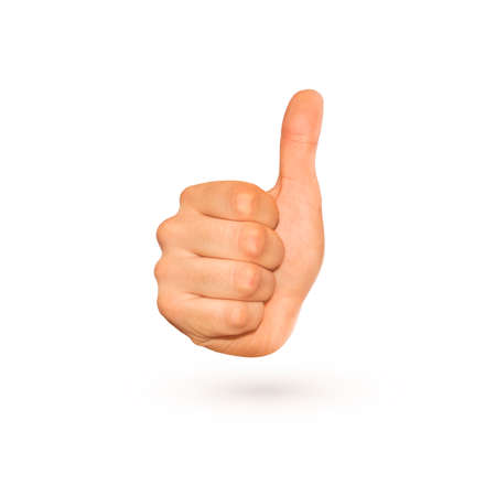 agree: Icon of thumb up sign isolated on white. Nice symbol of gesture with knuckle and big finger. Good idea approval. Yes, ok, confirm in one fist. Agree character show. Display success. Positive hand.