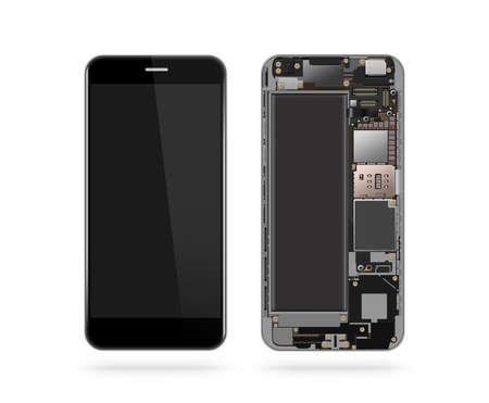 Phone inside isolated, chip, motherboard, processor, cpu and details. Smartphone component repair. Cellphone chipset constitution. Telephone scecification. Broken device mending. Computer disassembled