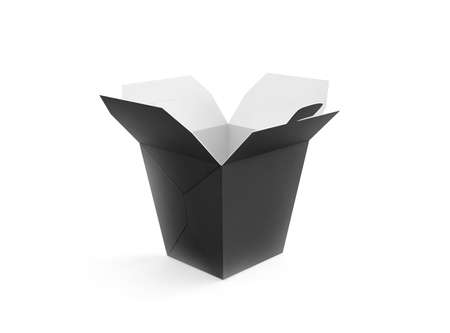 opened bag: Opened blank meal box mockup stand isolated, 3d rendering. Empty clear noodles carton box mock up. Asian take away wok paper bag template. Chinese udon container  packaging. Black fastfood package.