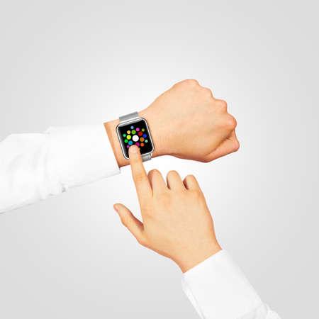 hand wear: Smart watch menu screen mock up wear on the hand isolated on gray. Steel metallic hand time clock interface mockup grey metal band. Smartwatch appl design presentation app display template.