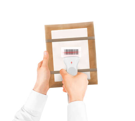barcode scan: Hand holding bar code scanner and package bag isolated. Barcode scan technology equipment with shipping box in hands. Digitally code scanner device hold hand.