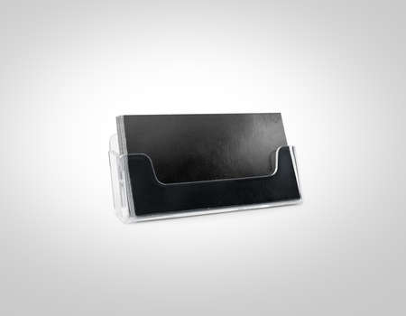 name calling: Black business card mockup holder isolated. Plastic transparent glass box name calling blank cards. Cardholder branding identity mock up presentation. Flyer leaflet grey paper card template design. Stock Photo
