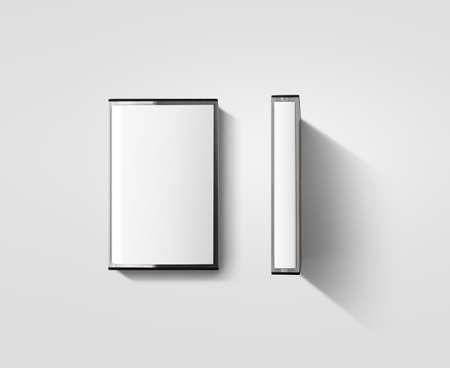 空白のカセット テープ ボックス デザインのモックアップ、分離、profil サイドビュー。レトロな casset」のモックアップとビンテージのカセット テ