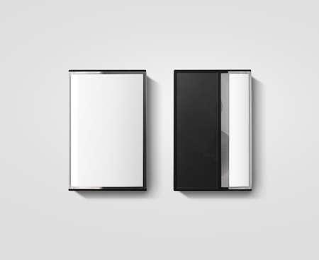 Blank cassette de boîte de bande maquette de conception, isolé, vue latérale arrière. Vintage boîtier de bande de cassete avec rétro Casset maquette. Plastic bande magnétique casete modèle d'emballage transparent analogique. couvercle de la boîte Mixtape.