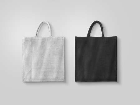 reusable: Blank white and black cotton eco bag design mockup isolated, clipping path. Textile cloth customer bag mock up template. Tote shoe consumer reusable organic craft package. Carrier recycle grossery bag
