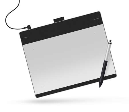 big picture: Graphic tablet with stylus illustration. Big picture of digitizer device with digital pen isolated on white. Creative draw tool for designers. Icon of tablet display near multimedia pencil sketching. Stock Photo