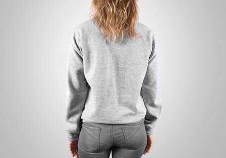 hoody: Blank sweatshirt mock up back side view, isolated, clipping path. Female wear plain hoodie mockup. Hoody design presentation. Clear loose model. Jumper backward. Man clothes sweat shirt sweater wear Stock Photo