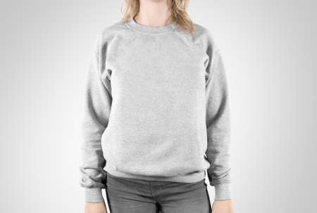 Blank sweatshirt mock up isolated. Female wear plain hoodie mockup. Plain hoody design presentation. Clear loose overall model. Pullover for print. Man clothes sweat shirt template sweater wearing Standard-Bild