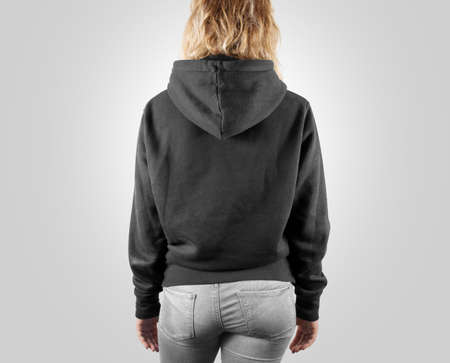 hoodie: Blank black sweatshirt mock up back side view, isolated. Female wear grey plain hoodie mockup. Hoody design presentation. Clear loose model. Gray jumper backward. Man clothes sweat shirt sweater wear Stock Photo