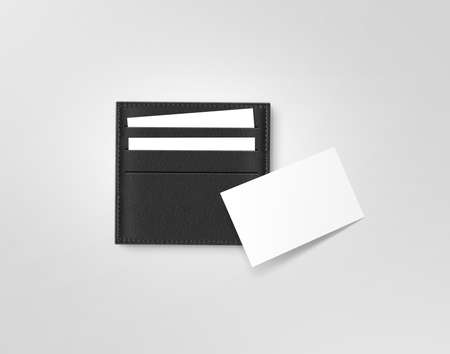 card holder: Black leather call card holder with blank white card mock up isolated on grey. Visiting calling cards mockup sleeve cardholder pocket. Clear paper cards branding in grey wallet box. Logo design card