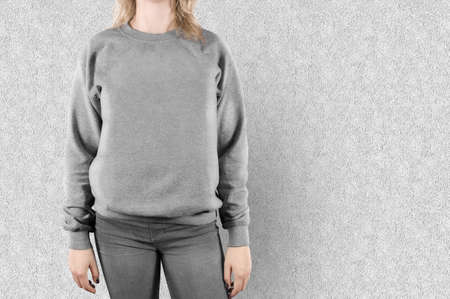 sweatshirt: Blank sweatshirt mock up isolated. Female wear plain hoodie mockup. Empty hoody design presentation. Clear loose overall model. Pullover ready for print. Man clothing hood template. Sweater t shirt.