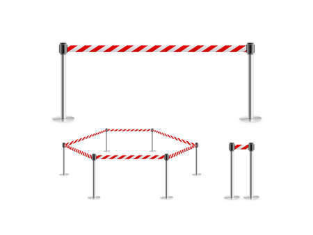 portative: Mobile fence barrier red white belt stand isolated, 3d illustration. Stock Photo