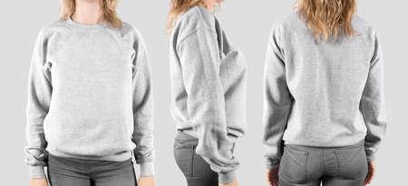 sweatshirt: sudadera maqueta en blanco, frontal, posterior y el perfil, aislado. Foto de archivo