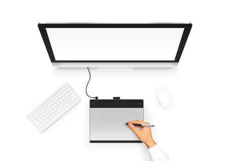 pc monitor: Designer drawing on graphic tablet near pc monitor blank screen.