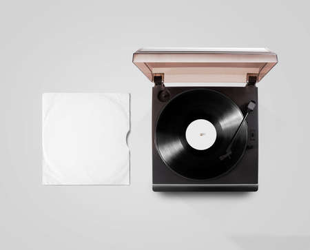 record cover: Gramophone vinyl player and record cover sleeve mockup, top view, isolated.