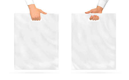 Blank plastic bag mock up holding in hand.