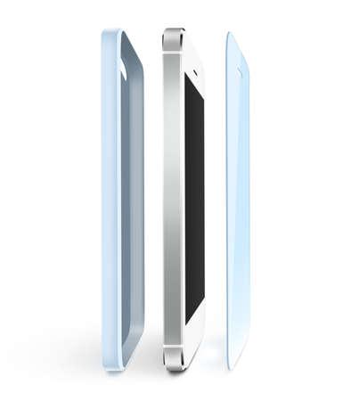 Telefoon beveiligen film en tas staan. Smartphone display met protector glas. Geïsoleerd op wit.