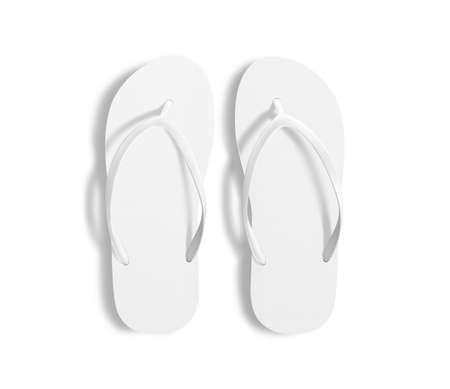 Paar lege witte strand slippers, ontwerp mockup