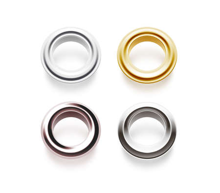 Grommets set isolated, 3d illustration. Metal, satin brass, steel, gold, silver, matte, copper eyelets. Banner washers, curtain clips. Grommet chrome cringles. Card, label, tag design earrings side.