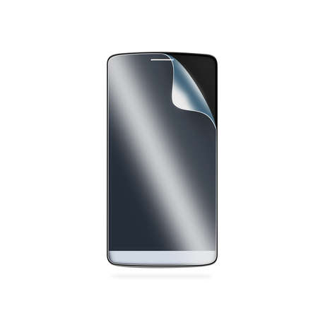 protective: Phone protection film on screen. Smartphone display with protector glass. Isolated on white. Mobile electronic protected with protective film. Safety, clear, insure from scratch. Protect presentation