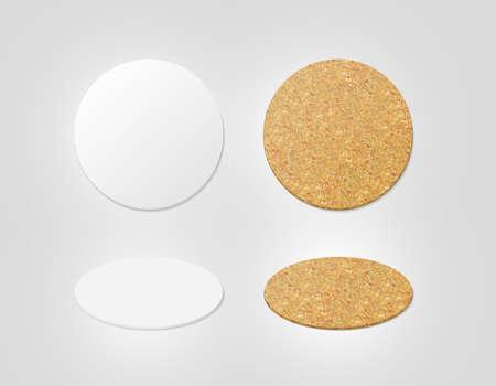 空白のホワイトとコルクの質感ビール コースター モックアップ 写真素材