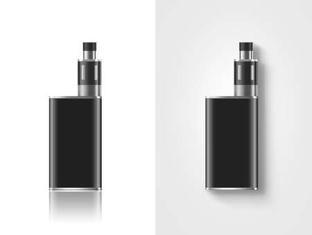vapor: Blank black vape mod box mockup isolated, clipping path, stand and lies, 3d illustration. Clear smoking vapor mock up template. Modbox vaporizer device presentation. E-cigarette vaping gear design. Stock Photo