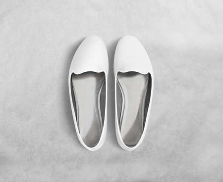 foot wear: White blank women shoes mockup stand isolated, clipping path. Female ballet foot wear design mock up with clear insole. Clean lady footwear template wth flat slip. Plain dance girls shoe display.