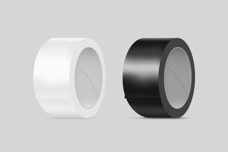scotch: Blank white and black duct adhesive tape mockup, clipping path, 3d illustration. Sticky scotch roll design mock up. Clear glue tape template. Packing insulating tape display.