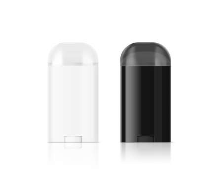 Blank white and black deodorant stick bottle mockup set, clipping path, 3d illustration. Antiperspirant flacon design mock up. Cosmetic skincare packaging flask template. Deodorizer plastic stick.