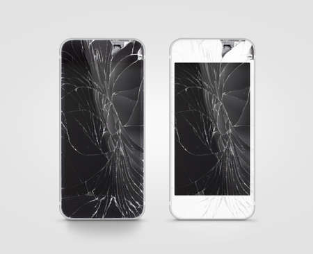 Broken mobile phone screen, black, white, clipping path. Smartphone monitor damage mock up. Cellphone crash and scratch. Telephone display glass hit. Device destroy problem. Smash gadget, need repair. 版權商用圖片 - 61804869