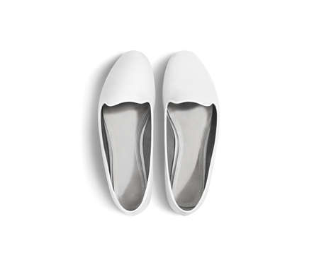 foot wear: White blank women shoes mockup stand isolated, top view, clipping path. Female ballet foot wear design mock up with clear insole. Clean lady footwear template wth flat slip. Dance girls shoe display.