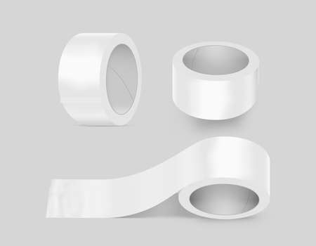 duct: Blank white duct adhesive tape set mockup