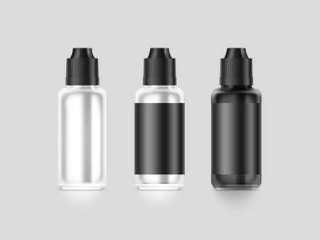 vapor: Blank black vape liquid bottle mockup isolated, clipping path, 3d illustration. Clear vapor juice flacon mock up template. Vaporizer dropper flavor vial presentation. E-cigarette aroma liquid design.