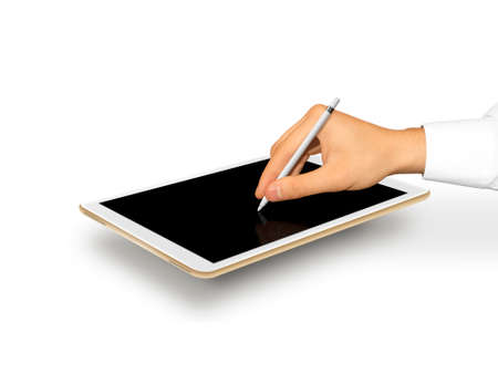 digitizer: Hand holding stylus near graphic tablet blank screen. Empty tab display mock up. Designer drawing, painting, sketching. New digitizer pencil presentation. Gold tablet touchscreen mockup. Input device.
