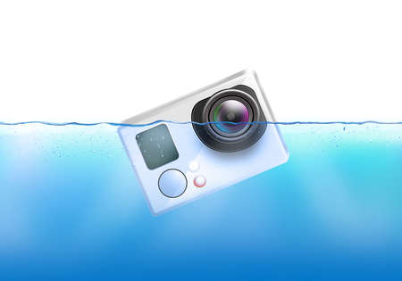 Action camera sinks in water. Action cam fall under liquid surface. Electronic recorder falling and dive.