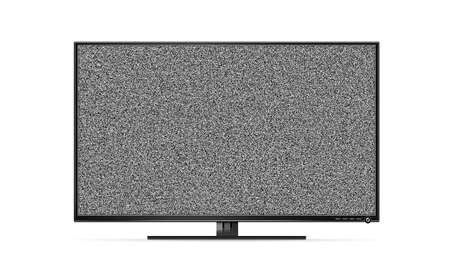 interference: Black TV flat screen stand with white noise, mock up isolated. Black HD error led monitor mockup. Flatscreen television retro broadcasting interference background. Abstract display monochrome texture.