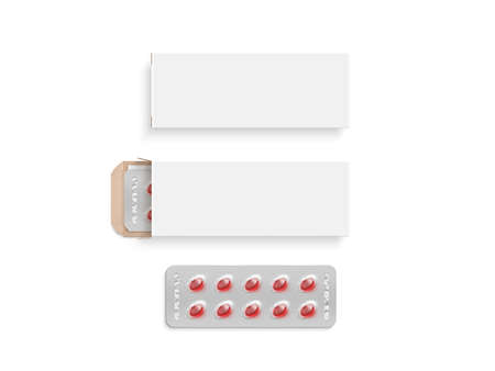 Blank white pill box design mockup set, isolated, 3d illustration. Clear blister pillbox template mock up. Open and close red tablets cardboard container. Blister pill boxing with drug colored capsule Stock Photo
