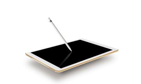 input device: Mockup gold tablet realistic style with stylus. Isolated on white background. Nice tab mock up for web design presentation. Pda blank touch screen, graphic pencil on monitor. Digitizer input device.