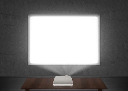 slide show: Blank projector screen mockup on the wall. Projection light in darkness. Projector display mock up. Presentation clear monitor on wall. Slide show front design. Slideshow billboard banner frame.