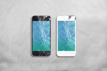 wrack: Broken mobile phone screen, black, white, clipping path. Smartphone display crack mockup. Cellphone crashed and scratch. Telephone monitor glass hit. Device destroyed. Smash gadget, need repair.